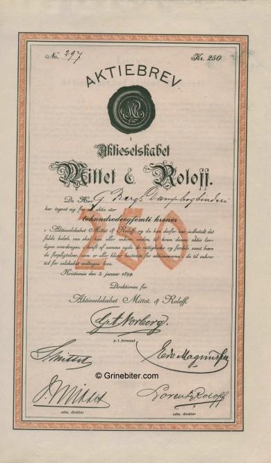 Mittet & Roloff A/S Stock Certificate Aksjebrev
