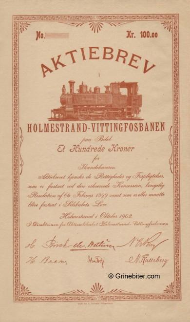 Holmestrand-Vittingfossbanen aksjebrev old stock Certificate