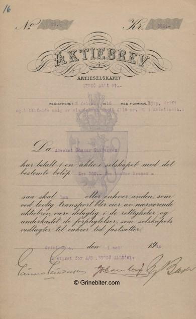 Bygdø Alle 61 Stock Certificate Aksjebrev