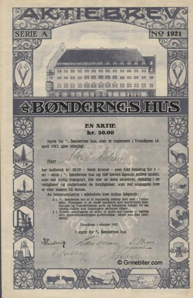 Bøndenes Hus A/S  Stock Certificate Aksjebrev