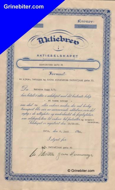 Hafrsfjord Gate 31 Stock Certificate Aksjebrev