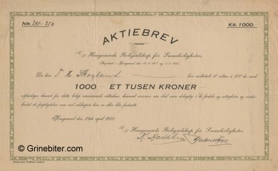 Haugesunds Boligselskap Stock Certificate Aksjebrev
