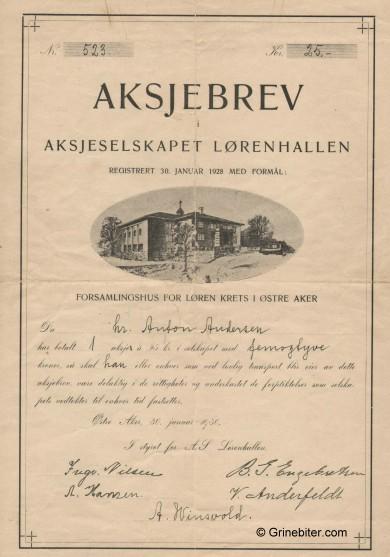 Lørenhallen A/S Stock Certificate Aksjebrev