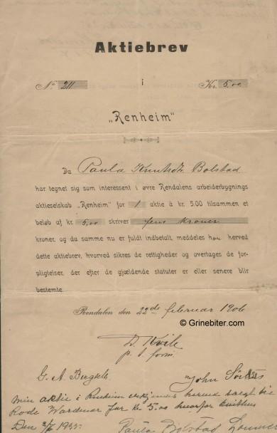 Renheim A/S Stock Certificate Aksjebrev