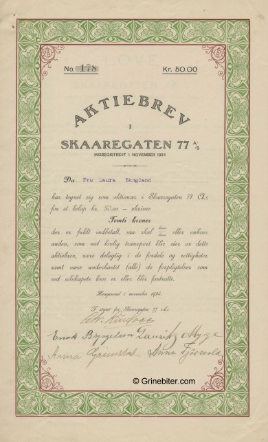 Skaaregaten 77 A/S Stock Certificate Aksjebrev