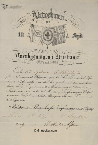 Turnbygningen i Christiania aksjebrev old stock Certificate