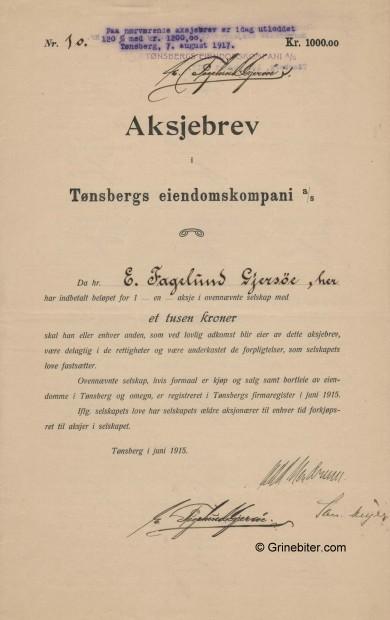 Tønsbergs Eiendom.Kom. Stock Certificate Aksjebrev