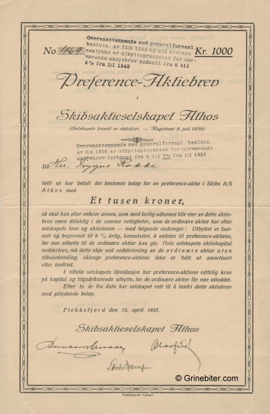 Athos Skibsaktieselskap Stock Certificate Aksjebrev