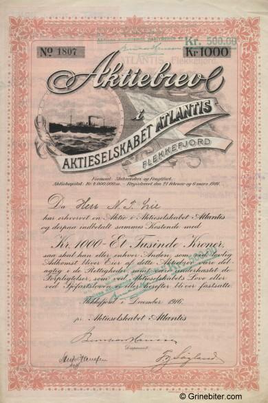Atlantis old stock Certificate