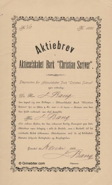 Bark Christina Scriver Stock Certificate Aksjebrev