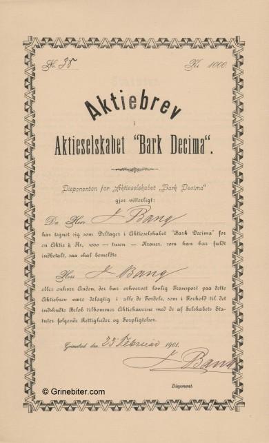 Bark Decima Stock Certificate Aksjebrev