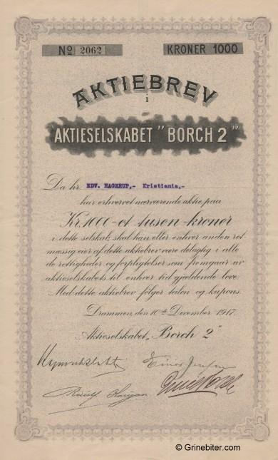 Borch  2 A/S Stock Certificate Aksjebrev