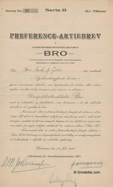 Bro  D/S Pref/AB Stock Certificate Aksjebrev