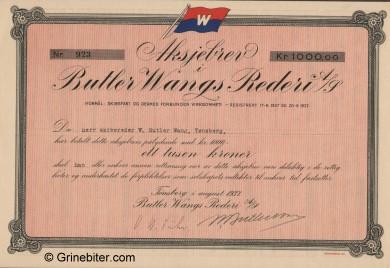 Butler Wangs Rederi A/S  Stock Certificate Aksjebrev