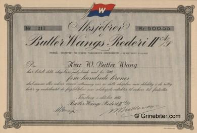 Butler Wangs Rederi II A/S Stock Certificate Aksjebrev
