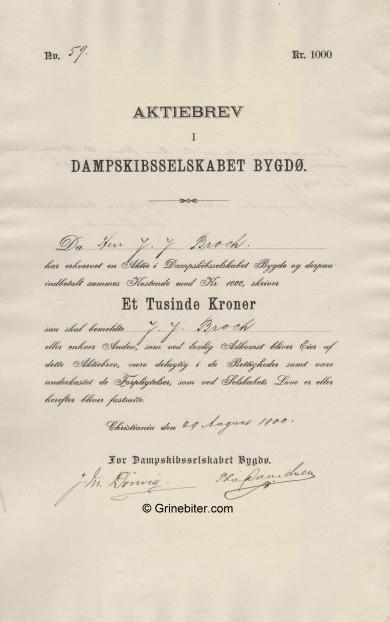 Bygdø D/S A/S Stock Certificate Aksjebrev