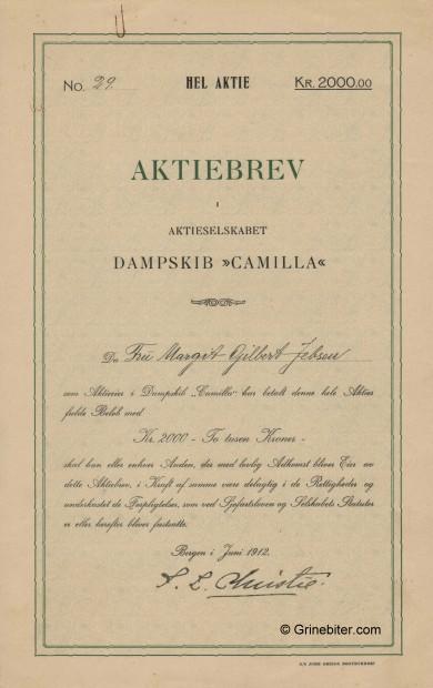Camilla D/S A/S Stock Certificate Aksjebrev