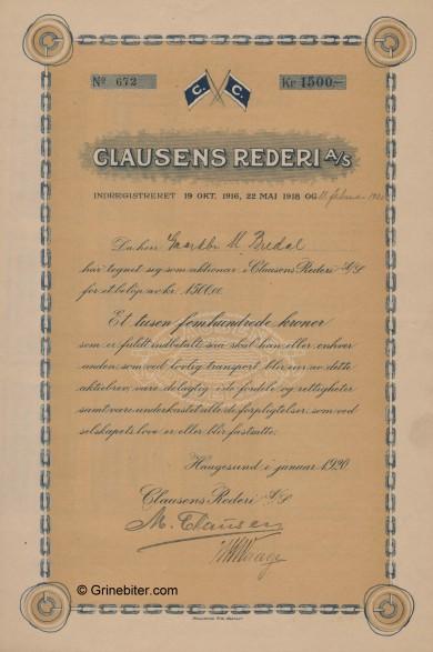 Clausen Rederi Stock Certificate Aksjebrev