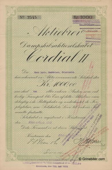 Cordial II D/S A/S Stock Certificate Aksjebrev