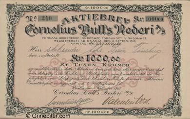 Cornelius Bulls Rederi A/S Stock Certificate Aksjebrev