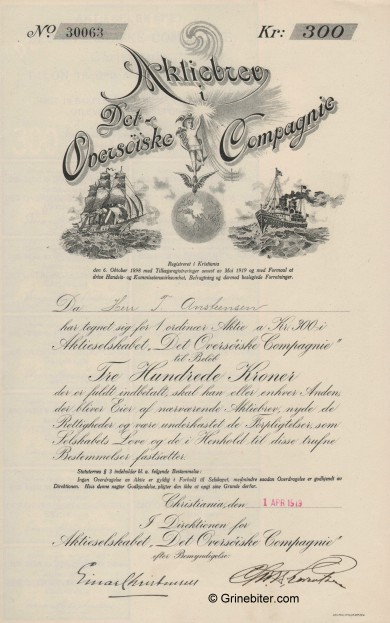 Det Oversøiske Compagnie Stock Certificate Aksjebrev