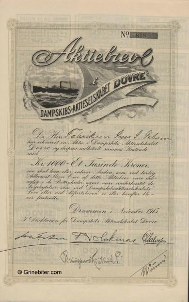 Dovre Skib aksjebrev old stock certificate