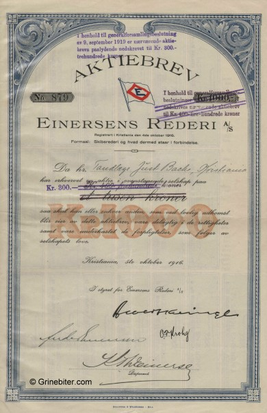 Einersens Rederi A/S Stock Certificate Aksjebrev