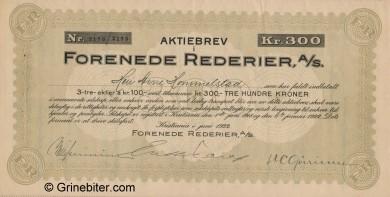 Forenede Rederier A/S Stock Certificate Aksjebrev