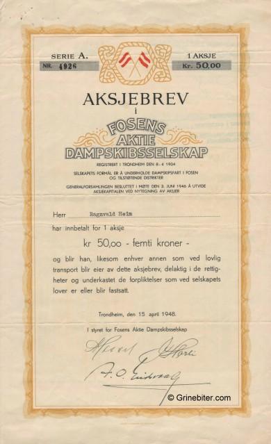 Fossens Aktie Dampskibselskap Stock Certificate Aksjebrev