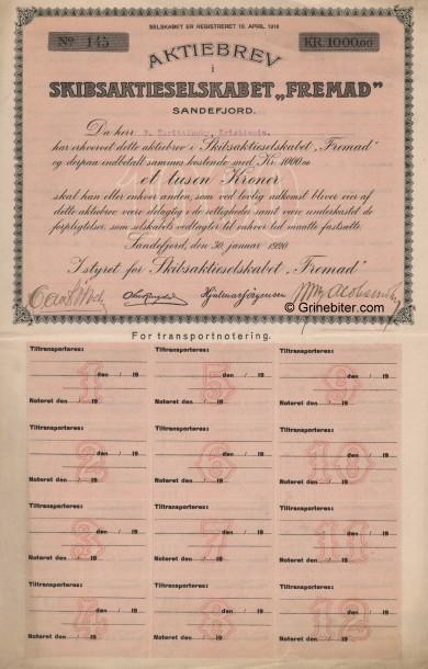 Fremad Skipsaktieselskab Stock Certificate Aksjebrev