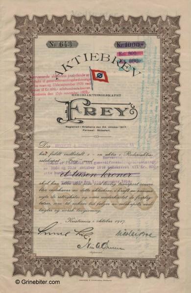 Frey A/S Stock Certificate Aksjebrev