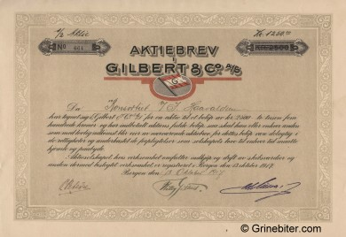 Gilbert & Co A/S Stock Certificate Aksjebrev
