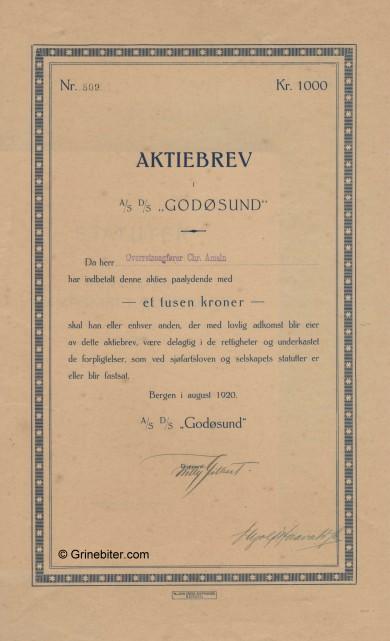 Godøsund D/S A/S Stock Certificate Aksjebrev