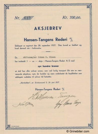 Hansen-Tangen Rederi A/S Stock Certificate Aksjebrev
