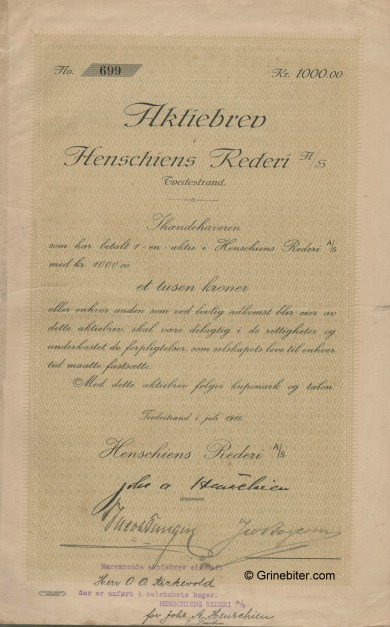 Henschiens Rederi A/S Stock Certificate Aksjebrev