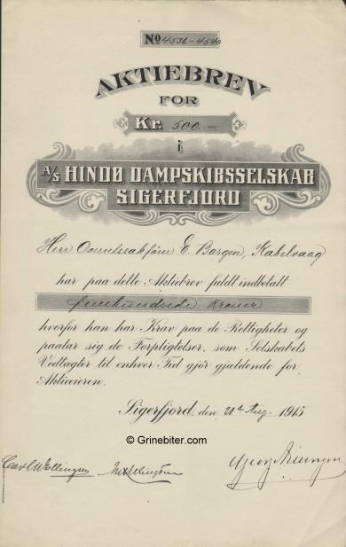 Hindø D/S A/S Stock Certificate Aksjebrev