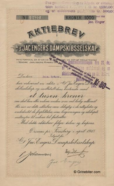 Jac.Engers D/S A/S Stock Certificate Aksjebrev
