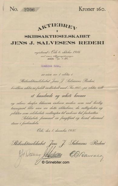 Jens J. Salvesens Rederi Stock Certificate Aksjebrev