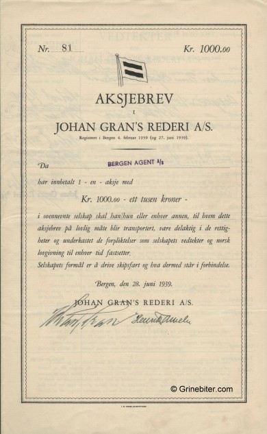 Johan Grans Rederi A/S Stock Certificate Aksjebrev