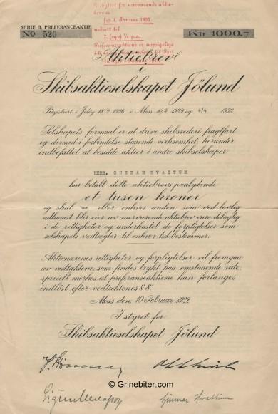Jølund Skipsaktieselskap Stock Certificate Aksjebrev