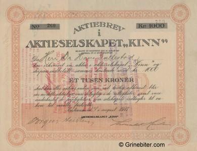 Kinn Aktieselskap Stock Certificate Aksjebrev