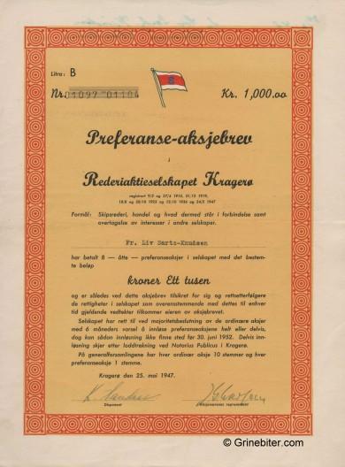 Kragerø Rederi PRF A/S Stock Certificate Aksjebrev