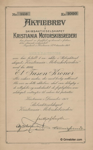 Kristiania MotorskipsRed. Stock Certificate Aksjebrev