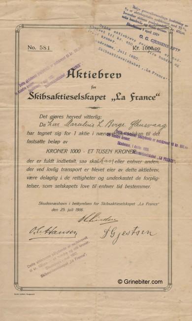 La France Skibs A/S Stock Certificate Aksjebrev
