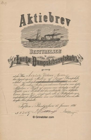 Langø D/S  Stock Certificate Aksjebrev