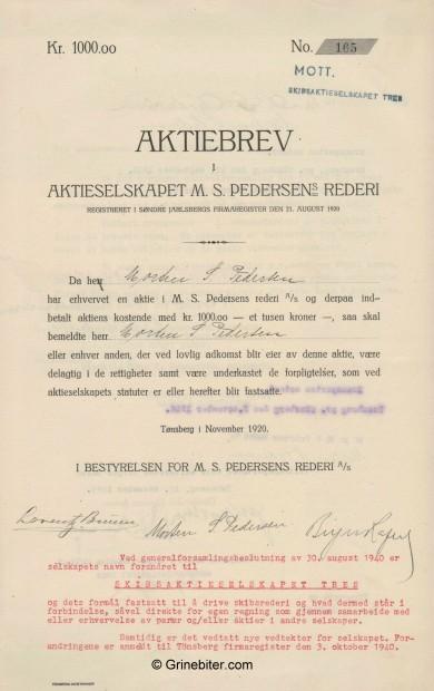 M. S. Pedersens Rederi Stock Certificate Aksjebrev