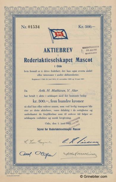 Mascot Rederiaktieselskapet Stock Certificate Aksjebrev