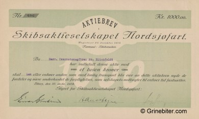 Nordsjøfart D/S A/S Stock Certificate Aksjebrev