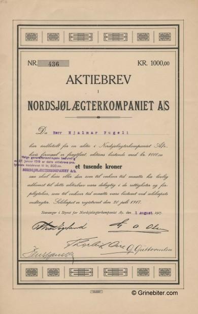 Nordsjølekterkompaniet Stock Certificate Aksjebrev