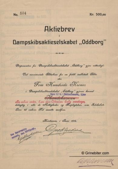 Oddborg D/S A/S Stock Certificate Aksjebrev